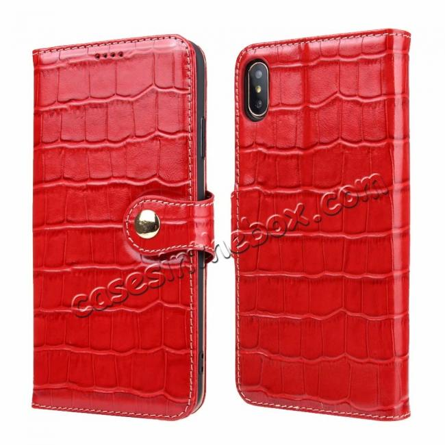 wholesale For iPhone XS Max Crocodile Pattern Genuine  Leather Stand Case with Card Slots -  Red