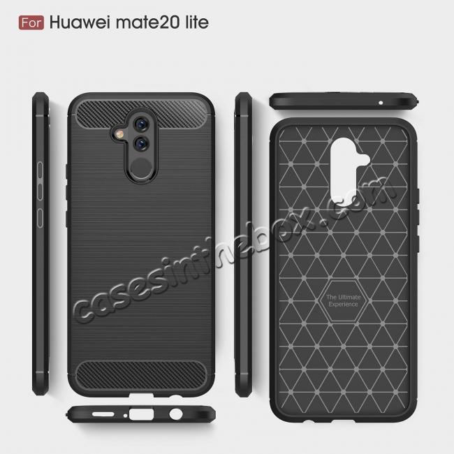 best price For Huawei Mate 20 Lite Slim Carbon Fiber Flexible Soft TPU Case Shockproof Cover - Navy Blue