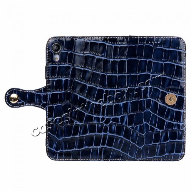 discount Crocodile Pattern Genuine Leather Case for iPhone XR - Dark Blue