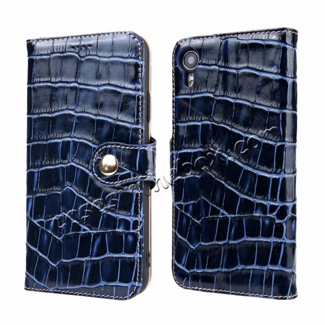 wholesale Crocodile Pattern Genuine Leather Case for iPhone XR - Dark Blue