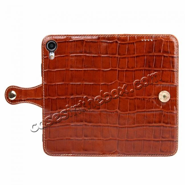 discount Crocodile Pattern Genuine Leather Case for iPhone XR - Brown