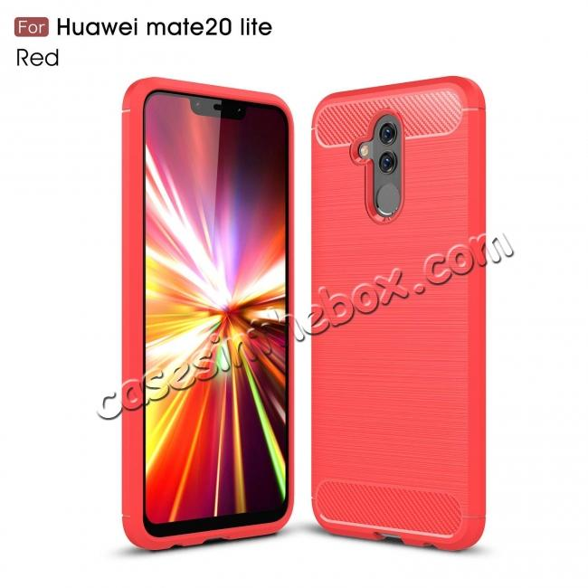 wholesale For Huawei Mate 20 Lite Slim Carbon Fiber Flexible Soft TPU Case Shockproof Cover - Red