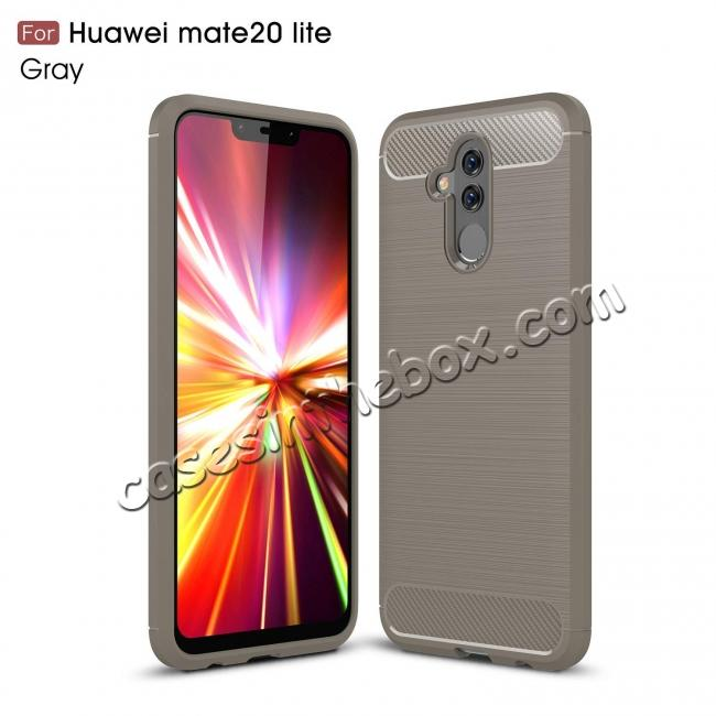 wholesale For Huawei Mate 20 Lite Slim Carbon Fiber Flexible Soft TPU Case Shockproof Cover - Grey