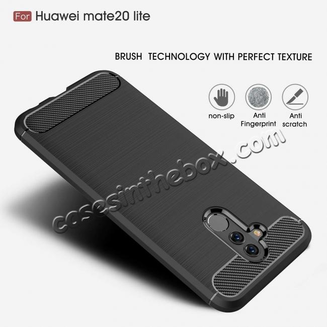 top quality For Huawei Mate 20 Lite Slim Carbon Fiber Flexible Soft TPU Case Shockproof Cover - Grey