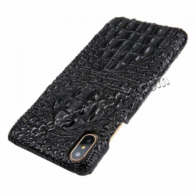 discount For iPhone XS Max Crocodile Head Pattern Genuine Leather Back Case Cover - Black
