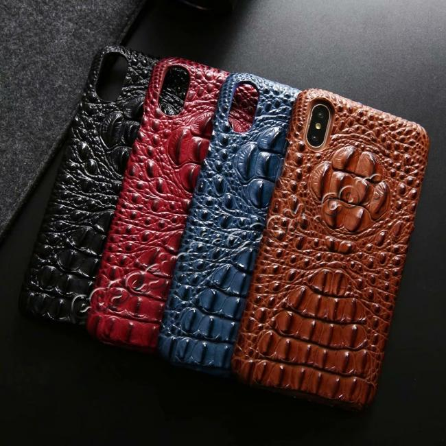 top quality For iPhone XS Max Crocodile Head Pattern Genuine Leather Back Case Cover - Black
