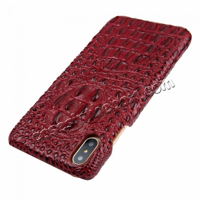 discount For iPhone XS Max Crocodile Head Pattern Genuine Leather Back Case Cover - Red