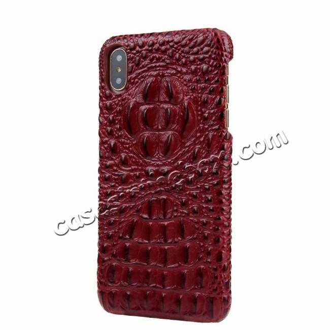cheap For iPhone XS Max Crocodile Head Pattern Genuine Leather Back Case Cover - Red