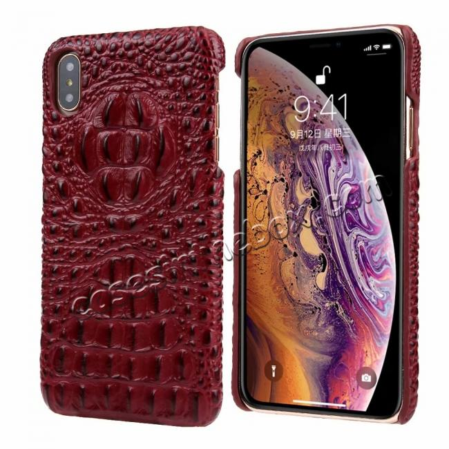 wholesale For iPhone XS Max Crocodile Head Pattern Genuine Leather Back Case Cover - Red