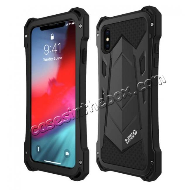 wholesale Aluminum Alloy Metal Gorilla Glass Silicone Hybrid Shockproof Dirtproof Case Cover for  iPhone XS Max - Black