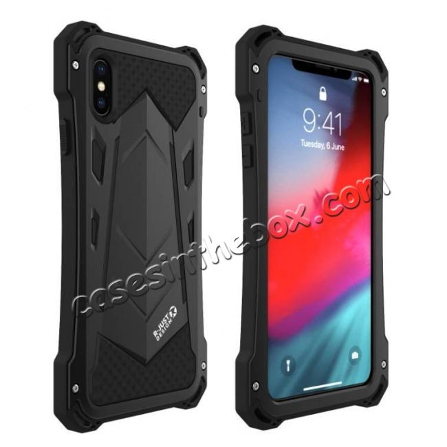 discount Aluminum Alloy Metal Gorilla Glass Silicone Hybrid Shockproof Dirtproof Case Cover for  iPhone XS Max - Black