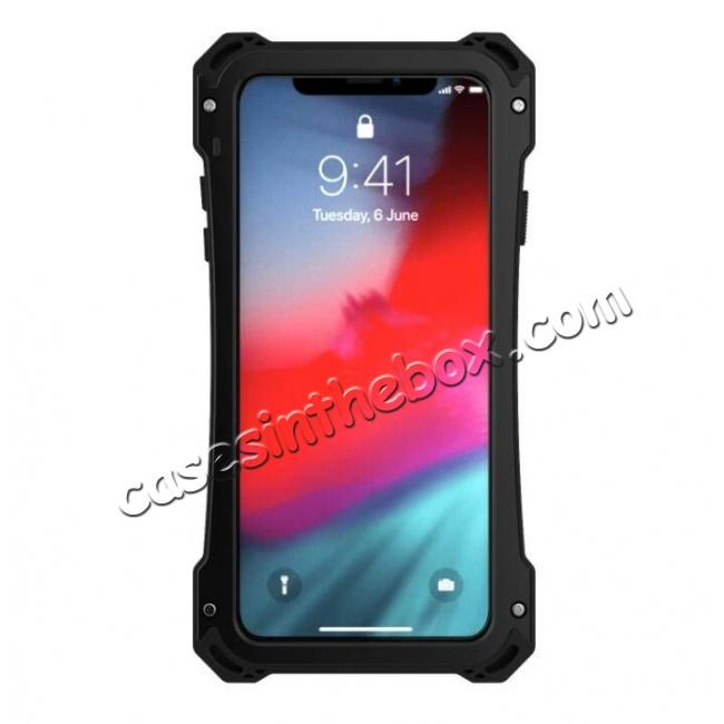 cheap Aluminum Alloy Metal Gorilla Glass Silicone Hybrid Shockproof Dirtproof Case Cover for  iPhone XS Max - Black