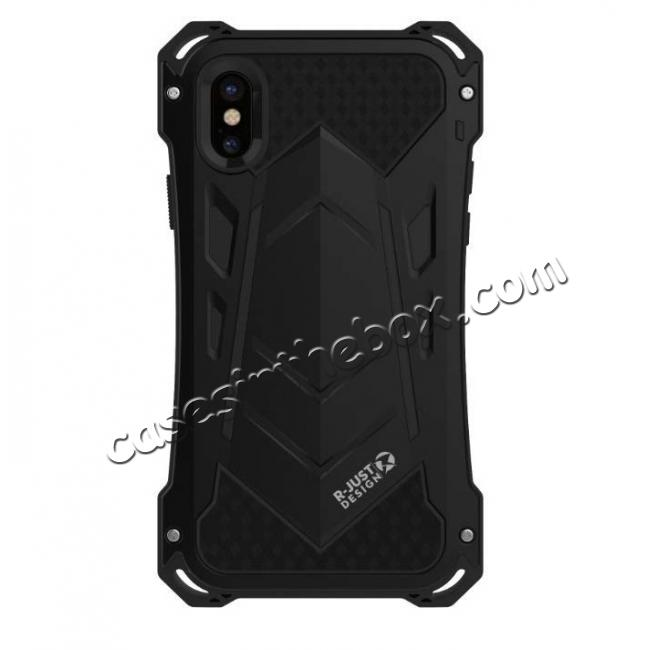 top quality Aluminum Alloy Metal Gorilla Glass Silicone Hybrid Shockproof Dirtproof Case Cover for  iPhone XS Max - Black