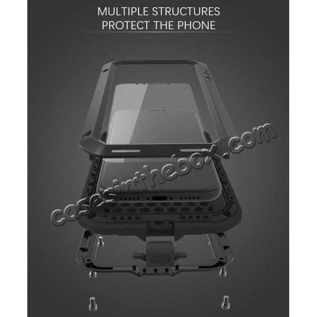 top quality Aluminum Metal Shockproof Waterproof Glass Case Cover for iPhone XR - Black