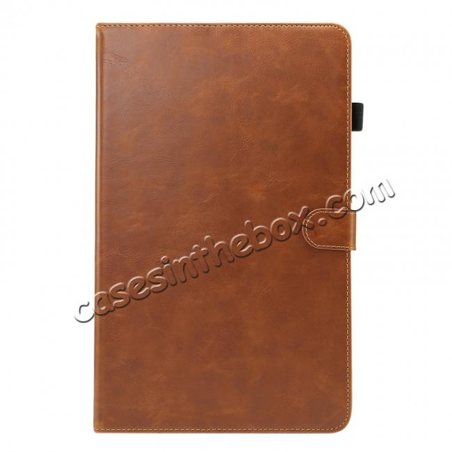 discount Crazy Horse Texture Stand Leather Case for Samsung Galaxy Tab S4 10.5 T830/T835 - Brown