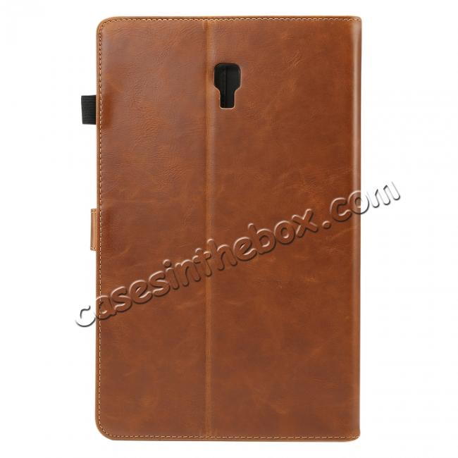 cheap Crazy Horse Texture Stand Leather Case for Samsung Galaxy Tab S4 10.5 T830/T835 - Brown