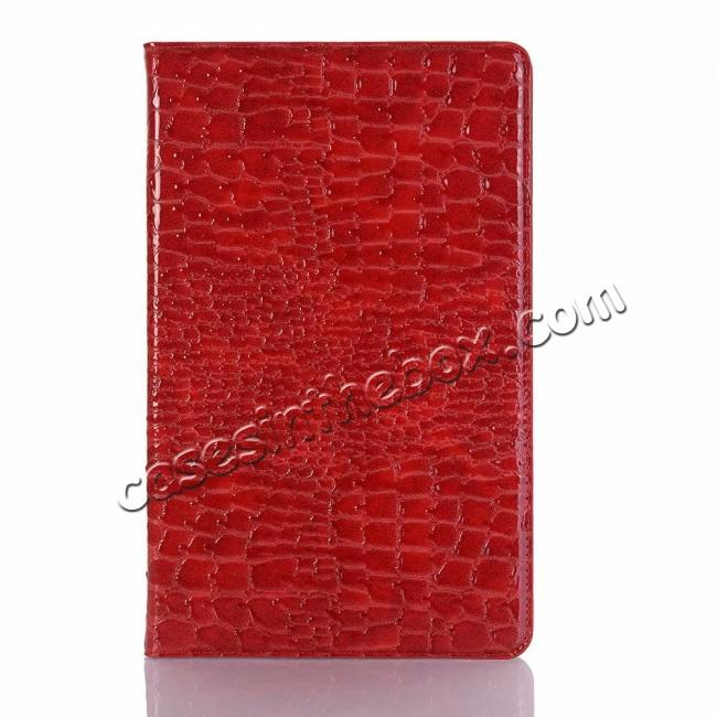 best price For Samsung Galaxy Tab A 10.5 T590/T595 2018 Crocodile Pattern Stand Leather Case - Red