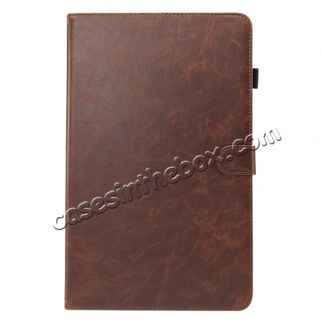 discount For Samsung Galaxy Tab A 10.5 T590 / T595 Luxury Crazy Horse Texture Stand Leather Case - Dark Brown