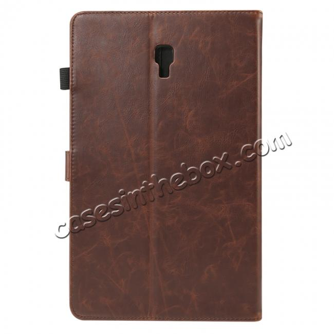 wholesale For Samsung Galaxy Tab A 10.5 T590 / T595 Luxury Crazy Horse Texture Stand Leather Case - Dark Brown