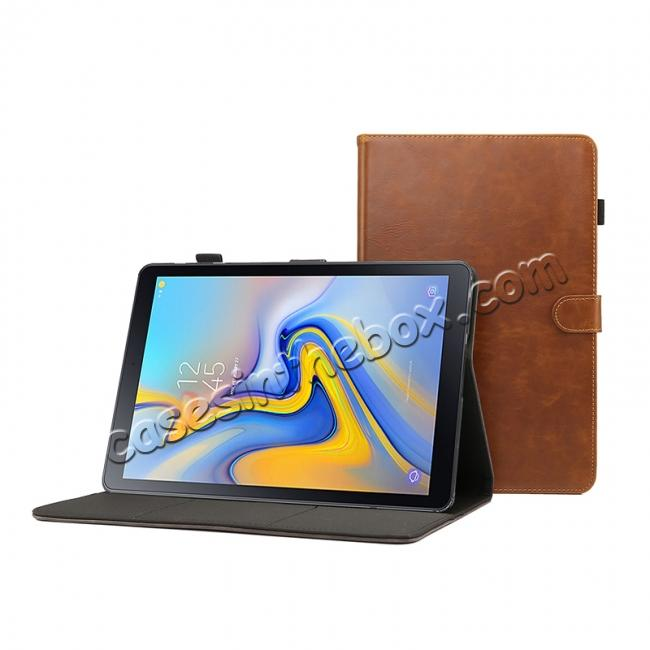 top quality For Samsung Galaxy Tab A 10.5 T590 / T595 Luxury Crazy Horse Texture Stand Leather Case - Dark Brown