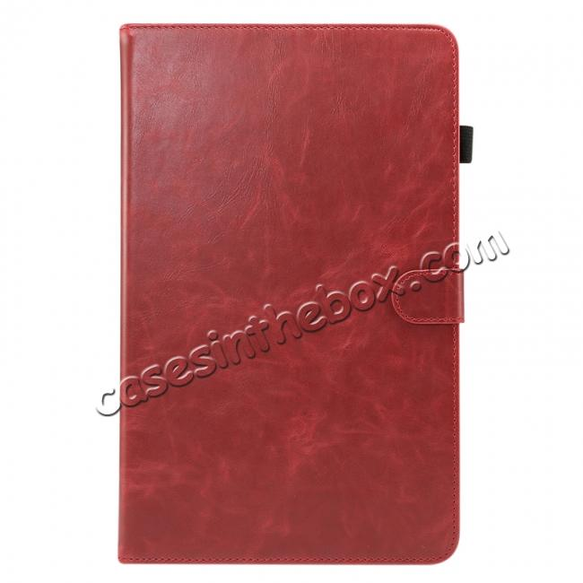 discount For Samsung Galaxy Tab A 10.5 T590 / T595 Luxury Crazy Horse Texture Stand Leather Case - Red