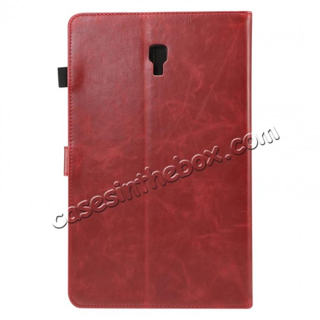 wholesale For Samsung Galaxy Tab A 10.5 T590 / T595 Luxury Crazy Horse Texture Stand Leather Case - Red
