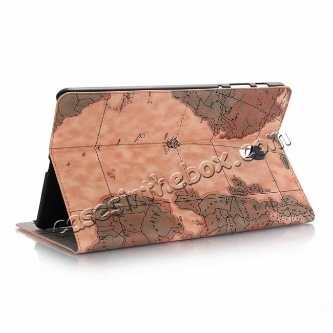 wholesale For Samsung Galaxy Tab A 10.5 T590/T595 World Map Stand Flip Leather Case - Light Brown