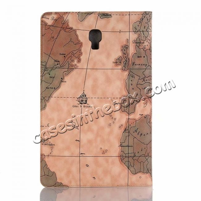 top quality For Samsung Galaxy Tab A 10.5 T590/T595 World Map Stand Flip Leather Case - Light Brown