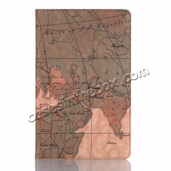 best price For Samsung Galaxy Tab A 10.5 T590/T595 World Map Stand Flip Leather Case - Light Brown