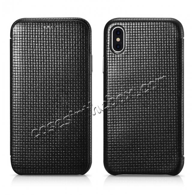 discount ICARER Woven Pattern Series Curved Edge Real Leather Folio Case for iPhone XS - Black