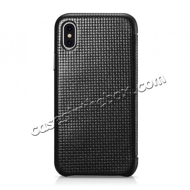 top quality ICARER Woven Pattern Series Curved Edge Real Leather Folio Case for iPhone XS - Black