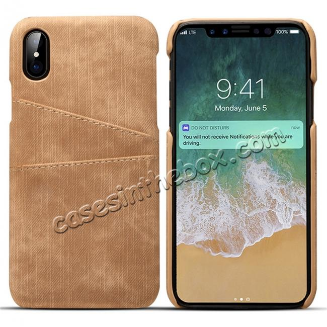 wholesale Leather Wallet Credit Card Slot Back Case Skin Cover for iPhone XS - Brown