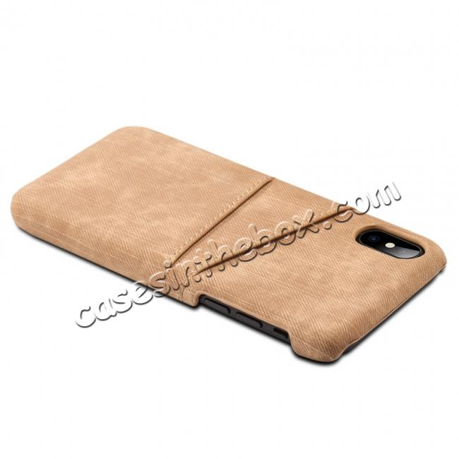 best price Leather Wallet Credit Card Slot Back Case Skin Cover for iPhone XS - Brown