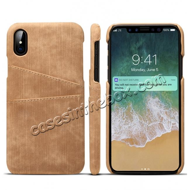 discount Leather Wallet Credit Card Slot Back Case Skin Cover for iPhone XS - Brown