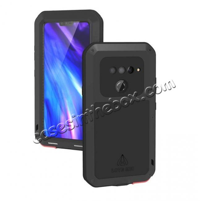 best price LOVE MEI Powerful Shockproof Aluminum Case For LG V40 ThinQ - Black