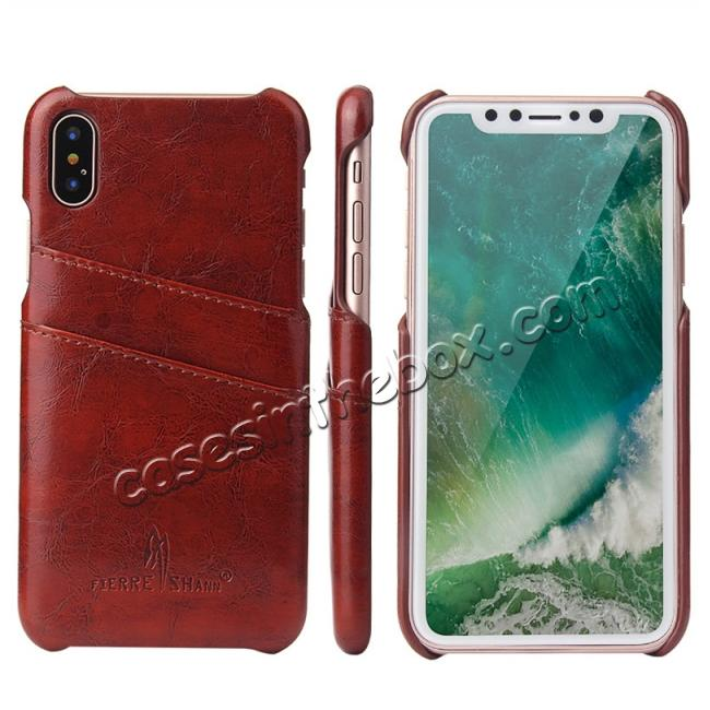 wholesale Oil Wax Style Insert Card Leather Back Case Cover for iPhone XS - Brown
