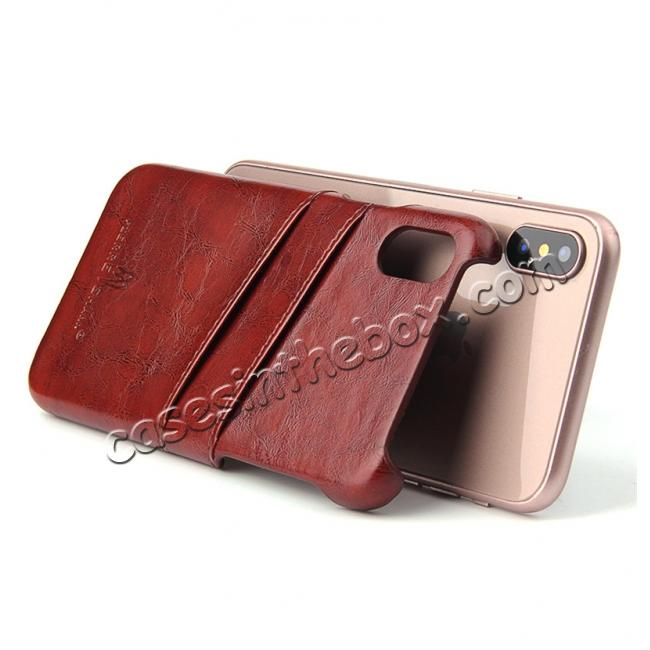 best price Oil Wax Style Insert Card Leather Back Case Cover for iPhone XS - Brown