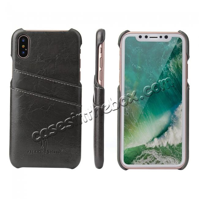 newest e2579 48cc3 Oil Wax Style Insert Card Leather Back Case Cover for iPhone XS - Dark Grey