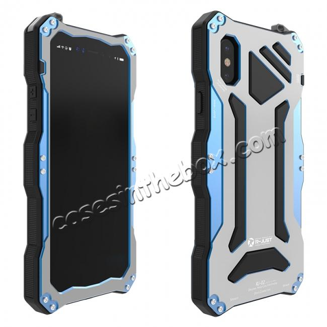 cheap R-Just 3-Proof Aluminium Metal Tempered Glass Case for iPhone XR - Blue