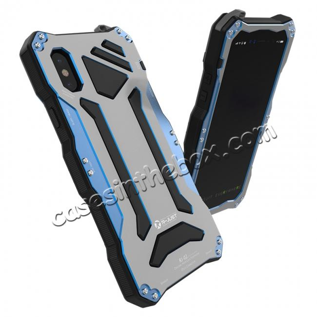 top quality R-Just 3-Proof Aluminium Metal Tempered Glass Case for iPhone XR - Blue