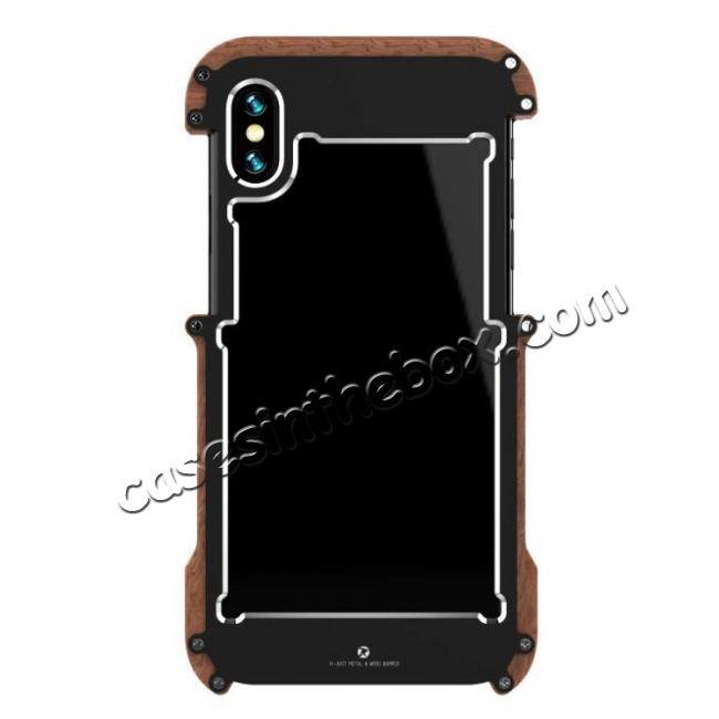 cheap R-JUST Metal Aluminum + Wood Hybrid Armor Bumper Case Cover For iPhone XS Max / XR / XS