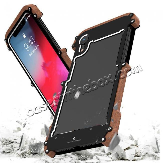 discount R-JUST Metal Aluminum + Wood Hybrid Armor Bumper Case Cover For iPhone XS Max / XR / XS