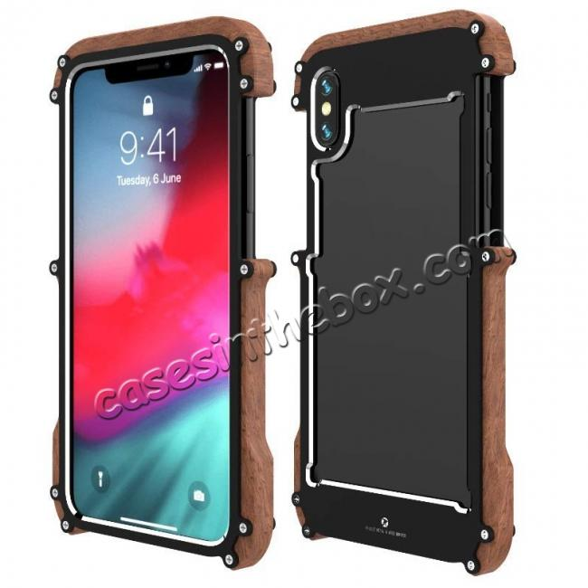 wholesale R-JUST Metal Aluminum + Wood Hybrid Armor Bumper Case Cover For iPhone XS Max / XR / XS