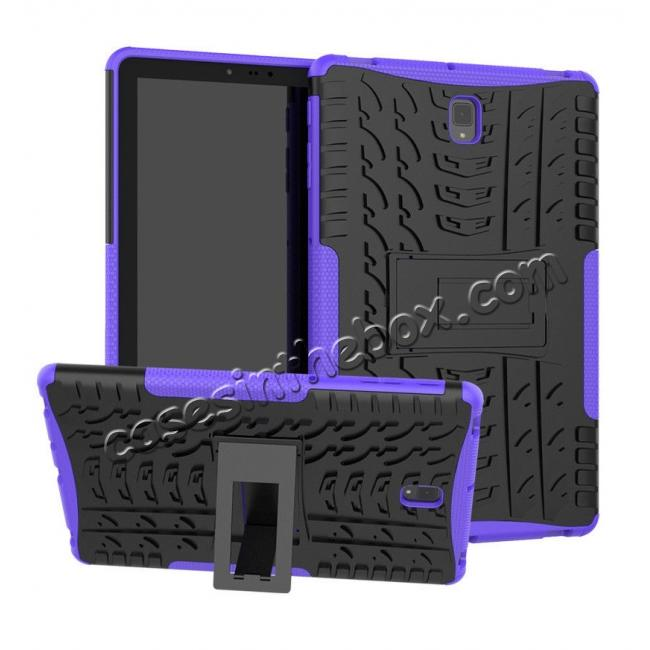 wholesale Rugged Shockproof Kickstand Cover Armor Back Case for Samsung Galaxy Tab S4 10.5 T830/T835 - Purple