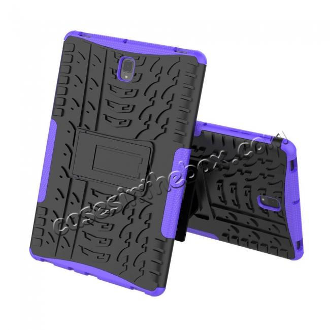 cheap Rugged Shockproof Kickstand Cover Armor Back Case for Samsung Galaxy Tab S4 10.5 T830/T835 - Purple