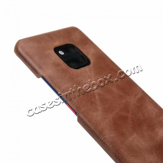 discount Matte Genuine Leather Back  Case Cover for Huawei Mate 20 Pro - Coffee
