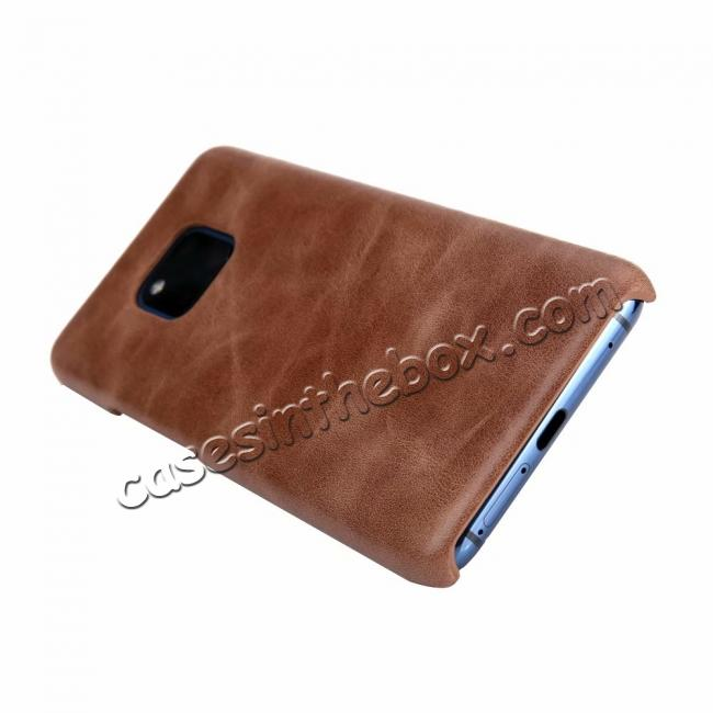 cheap Matte Genuine Leather Back  Case Cover for Huawei Mate 20 Pro - Coffee