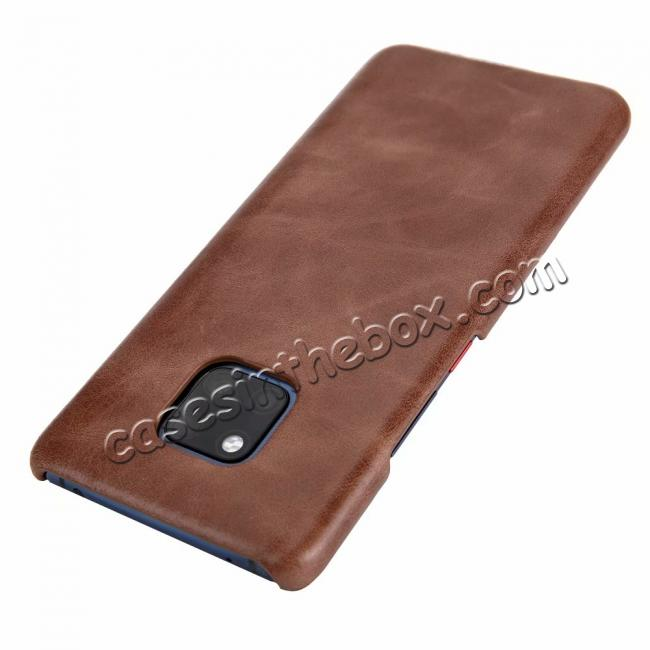 top quality Matte Genuine Leather Back  Case Cover for Huawei Mate 20 Pro - Coffee