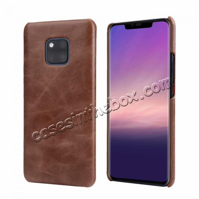 wholesale Matte Genuine Leather Back  Case Cover for Huawei Mate 20 Pro - Coffee