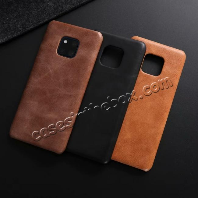 best price Matte Genuine Leather Back  Case Cover for Huawei Mate 20 Pro - Coffee